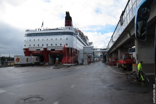Travelling to Aland from mainland Finland commonly involves a ride of one of these - the big car (and party cruise) ferries to Stockholm. Here, we are ready for boarding to the MS Gabriella.