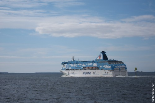 Close encounter with the Silja Galaxy while our ferry takes us back to the main island.