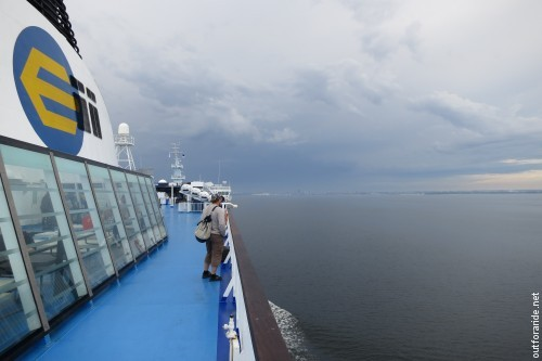 Approaching Tallinn on the Eckerö M/S Finlandia; first thing after arrival would be to wait out that mid-day thunderstorm brewing up in the picture.