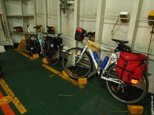 Bicycles are always well secured on Japanese ferries.