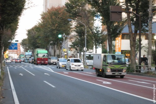 Rush hour traffic as we are headed into Tokyo. Not much of a shoulder, but generally more safe than on the sidewalks.