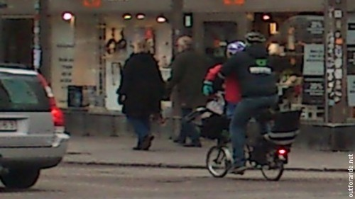 A heavily loaded Brompton in Stockholm.